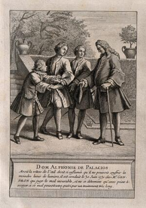 view Alphonse de Palacios, who suffered so severely from an infection of the retina that he was unable to look at any light. Engraving.