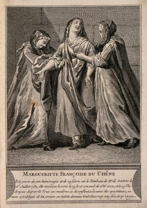view M.F. du Chêne miraculously cured from a variety of ailments (dropsy, hemorrhaging, aches and a disease of the lung) all inter-related (?), at the tomb of F. de Paris. Engraving.