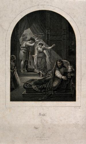 view David playing his harp for a distraught Saul. Steel engraving by P. Vallot after A. Gros.