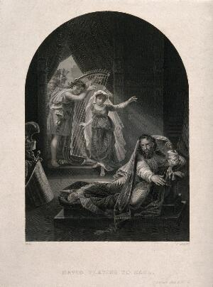 view David playing his harp for a distraught Saul. Steel engraving by J. Rogers after A. Gros.