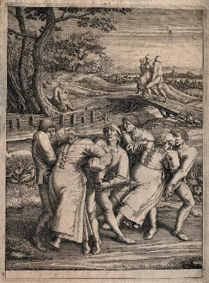 view Three epileptic women each supported by two men. Engraving