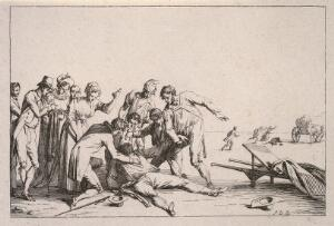 view A group of people standing around a man having an epileptic fit. Etching by J. Duplessi-Bertaux.