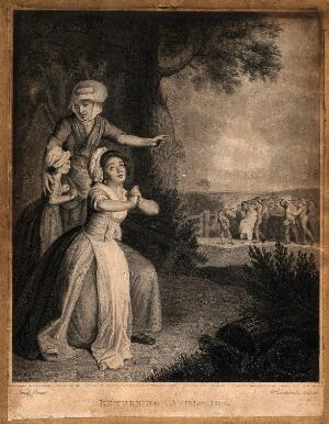 view A young woman with folded hands giving thanks to heaven, an older woman points to a crowd carrying a young man wrapped in a blanket. Engraving by W. Sedgwick after E. Penny, 1780.