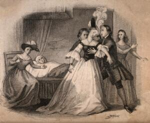 view A fashionable young woman fainting into the arms of a young man at the bedside of an invalid. Engraving.