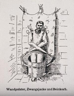 view A mentally ill patient in a strait-jacket attached to the wall and a strange barrel shaped contraption around his legs. Photograph after a wood engraving by E. Tritschler, 1908.