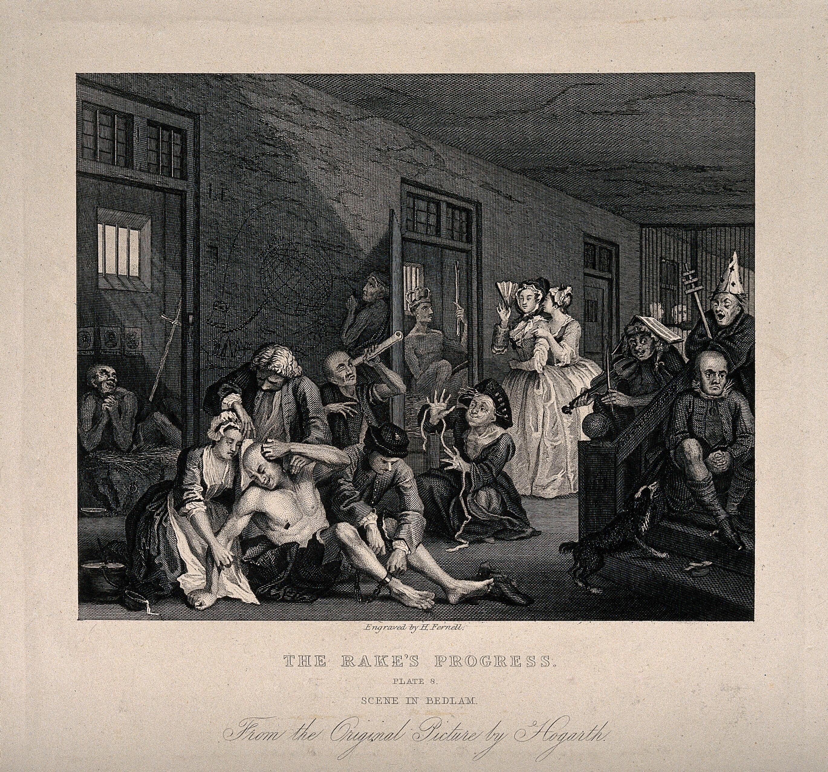 Engraving of a scene from Bethlem Hospital taken from William Hogarth's series, 'A Rake's Progress'