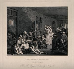 view An insane man (Tom Rakewell) sits on the floor manically grasping at his head, while two attendants manacle his legs: his lover, Sarah Young, cries in distress, they are surrounded by lunatics at Bethlem hospital, London. Engraving by H. Fernell after W. Hogarth, 1735.
