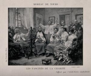 view Mentally ill people at the Charité hospital sitting and looking at a piece of apparatus (camera?). Photogravure by C. Block after G. Moreau de Tours.