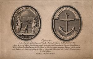 view Front and reverse of a medal presented to Jenner by naval medical officers in 1801. Engraving, 1801, after a medal made by T. Harper.