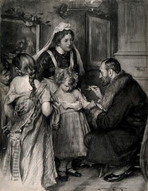 view A man vaccinating a small girl, other girls with loosened bodices wait their turn apprehensively. Gouache by L. Calkin, ca. 1901.