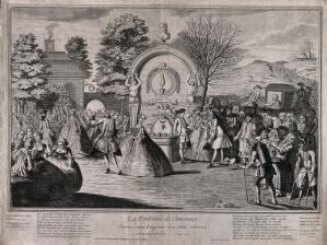 view Crowds of old and infirm people arrive at the fountain of youth to drink the special water; to the left are a group of youthful people dancing and singing, rejuvenated by the spring. Engraving by Boilard.
