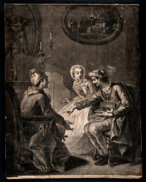 view A husband and wife ask a quack doctor for advice about health: he suggests substituting himself for the husband in the wife's affections, and she agrees. Mezzotint by J. Simon, 17--, after E. Jeaurat.
