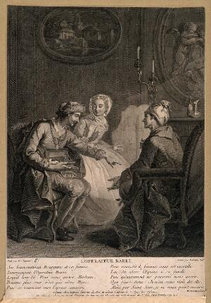 view A husband and wife ask a quack doctor for advice about health: he suggests substituting himself for the husband in the wife's affections, and she agrees. Engraving by J.J. Balechou, 1743, after E. Jeaurat.