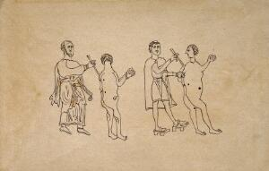 view Two physicians applying the method of cauterisation to clearly defined points of the back and side of two patients. Pen drawing after an Anglo Saxon tenth century manuscript.