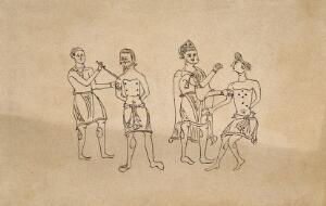 view Two surgeons applying the method of cauterisation to clearly defined points on the chests of two male patients, the senior surgeon wears a pointed hat (?). Pen drawing after an Anglo Saxon tenth century manuscript.