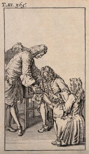 view A surgeon amputating a patient's leg who is being held in a particular position by two attendants. Engraving, 1738.