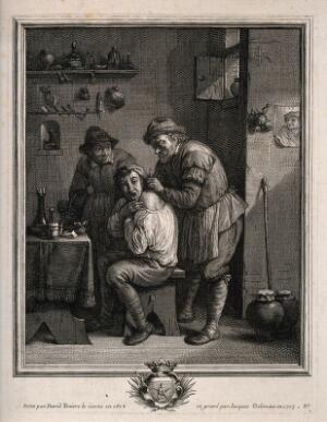 view A surgeon lancing a grimacing man's shoulder. Engraving by J. Coelemans, 1703, after D. Teniers, the younger, 1678.