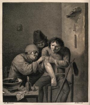 view A surgeon dressing the wound of a grimacing patient. Lithograph by N. Strixner after A. Brouwer.