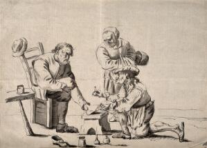 view A surgeon treating an elderly man's foot, his wife observes the scene. Pen drawing after D. Teniers, the younger.