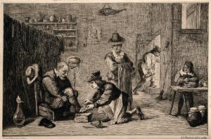 view A rural surgeon treating an elderly man's foot, in the background an assistant is mixing a concoction with a pestle and mortar in a surgery. Etching by A.T.J.M. Potémont after D. Teniers, the younger.