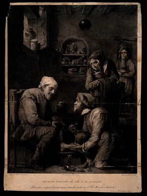 view A surgeon (whose features resemble a monkey's) is treating the foot of an elderly man, his concerned wife observes the scene and an assistant enters the room with a bowl. Lithograph by R. Beltran after J. de Madrazo after D. Teniers the younger.