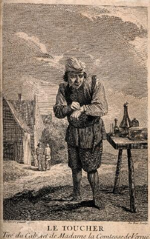 view A man applying a plaster to his hand outside in a rural setting. Etching by J.P. Le Bas after D. Teniers, the younger.