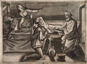 view A surgeon instructing a younger surgeon how to bleed a male patient's foot, a woman is comforting the patient. Engraving, 1586.