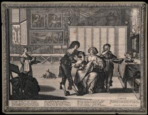 view A surgeon about to let blood from a woman patient in a richly furnished room. Engraving by A. Bosse.