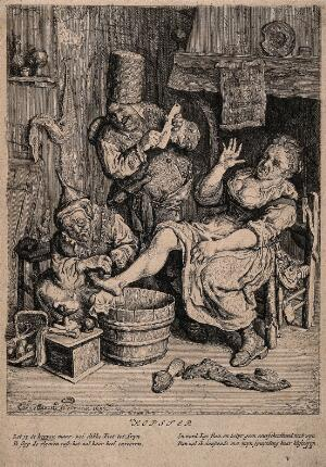 view A woman surgeon and her assistant cupping a patient. Etching by C. Dusart, 1695.