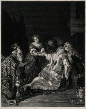 view A surgeon tending a woman who has just fainted after bloodletting; she is supported by female members of her family. Engraving by Garlieb after Eglon Hendrik van der Neer.