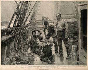 view A sailor setting the broken leg of another sailor after an accident on deck. Halftone after F. Brangwyn, 1895.