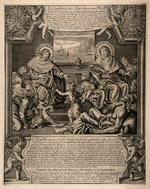 view Saint Cosmas and Saint Damian tending the frail and the sick. Line engraving by N. Picart, 1675.