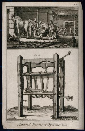 view The forge of a blacksmith, with a harness and frame for use in the shoeing of horses. Etching by R. Bénard after Harguinier, 1760/1790?