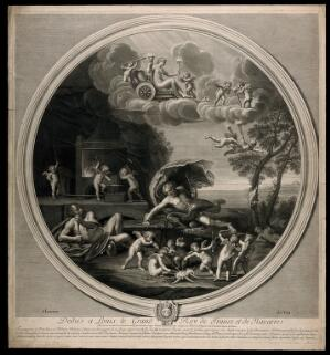 view Vulcan in his forge with Jupiter throwing bolts of lightning, Venus in the sky above: symbolising the element fire. Engraving by E. Baudet, 1695, after F. Albani.