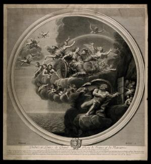 view Juno in a chariot drawn by two peacocks flying through the sky surrounded by nymphs and cherubs, Jupiter on the ground trying to lock up a group of putti: symbolising the element air. Engraving by E. Baudet, 1695, after F. Albani.