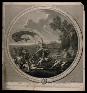 view Venus riding a scallop shell chariot over the seas accompanied by Neptune, nymphs and cherubs, symbolising the element water. Engraving by E. Baudet, 1695, after F. Albani.