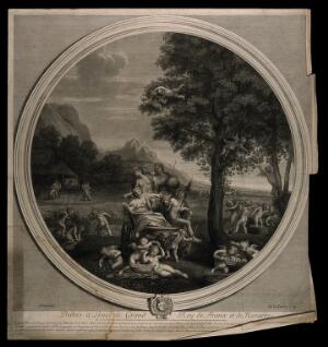 view Cybele, Bacchus, Ceres and Flora on a chariot drawn by lions surrounded by all forms of natural abundance and cherubs, symbolising the element earth. Engraving by E. Baudet, 1695, after F. Albani.