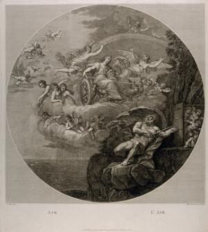 view Juno in a chariot drawn by two peacocks flying through the sky surrounded by nymphs and cherubs, Jupiter on the ground trying to lock up a group of putti, symbolising the element air. Etching by F. Bartolozzi, 1796, after F. Albani.