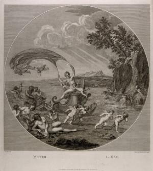 view Galatea riding a scallop shell chariot over the seas accompanied by Neptune, nymphs and cherubs, symbolising the element water. Etching by F. Bartolozzi, 1796, after F. Albani.