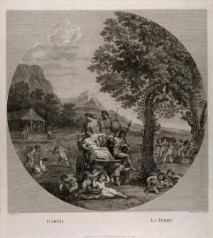 view Cybele, Bacchus, Ceres and Flora on a chariot drawn by lions surrounded by all forms of natural abundance and cherubs: symbolising the element earth. Etching by F. Bartolozzi, 1796, after F. Albani.