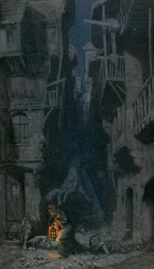 view A giant hand roaming through the dark streets of London, people and rats try to escape its grasp; representing bubonic plague. Watercolour by R. Cooper.