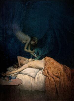 view A giant claw pierces the breast of a sleeping naked woman, another naked woman swoops down and stabs the claw with a knife; representing the surgical treatment of breast cancer. Watercolour by R. Cooper.
