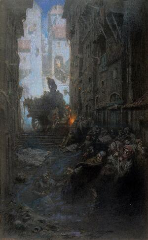 view Crowded dark streets full of dead and dying people, bodies are being loaded on to a cart; representing cholera. Watercolour by R. Cooper.