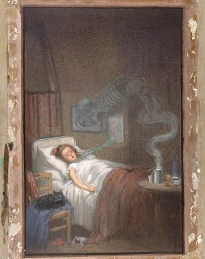 view A ghostly skeleton trying to strangle a sick child; representing diphtheria. Watercolour by R. Cooper.