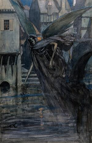 view The angel of death (a winged skeletal creature) drops some deadly substances into a river near a town; representing typhoid. Watercolour, 1912, after R. Cooper.