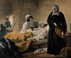 """view Crimean War: women nurses tending wounded soldiers as """"woman's mission"""". Coloured lithograph by J.A. Vinter, 1854, after H. Barraud."""