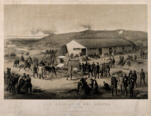 view Schleswig-Holstein War: an ambulance arriving at a battlefield in Düppel 18 April 1864. Lithograph by W. Funke, 1864.