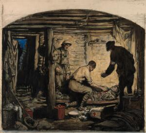 view World War One: a physician tending a soldier in a room in the trenches. Coloured charcoal drawing.