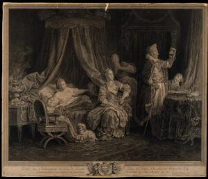 view A physician examining a urine flask of a scantily dressed attractive woman who is in bed surrounded by her mother, lover and servant. Engraving by A.F. David after J.B. Leprince.