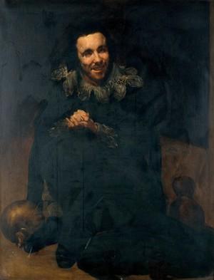 "view The dwarf Don Juan Calabazas, ""Calabacillas"". Oil painting by M. Pineda Montón after Diego Velazquez de Silva."